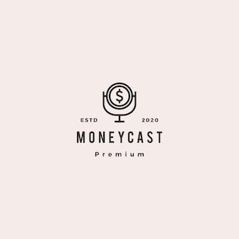Icona vintage retrò di soldi podcast logo hipster per monetizzare blog video vlog tutorial canale radio trasmissione