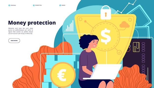 Pagina di destinazione della protezione del denaro. sicurezza finanziaria, sicurezza dei depositi aziendali.