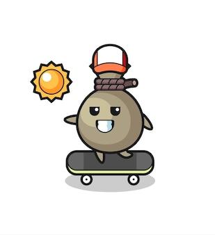 L'illustrazione del personaggio del sacco dei soldi guida uno skateboard, un design in stile carino per maglietta, adesivo, elemento logo