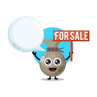 Sacco di soldi in vendita simpatico personaggio mascotte
