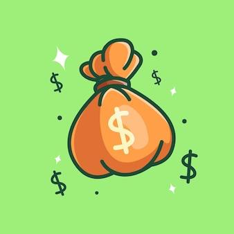 Illustrazione dell'icona di vettore del sacco dei soldi concetto piano del fumetto
