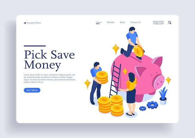 Concetto di risparmio di denaro con personaggi