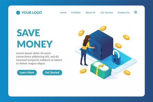 Modello di pagina di destinazione sito web isometrica risparmio di denaro