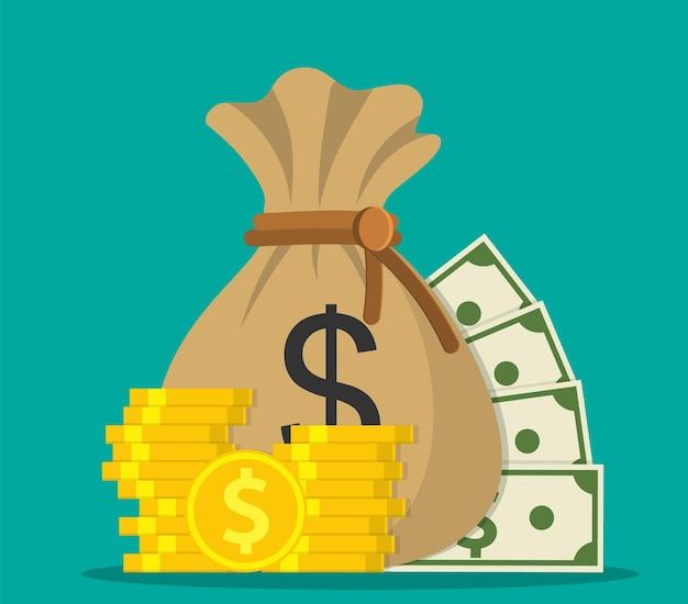 Risparmio di denaro e icona della borsa dei soldi. concetto di denaro come un sacco di soldi, impilare monete e banconote. illustrazione vettoriale in stile piatto