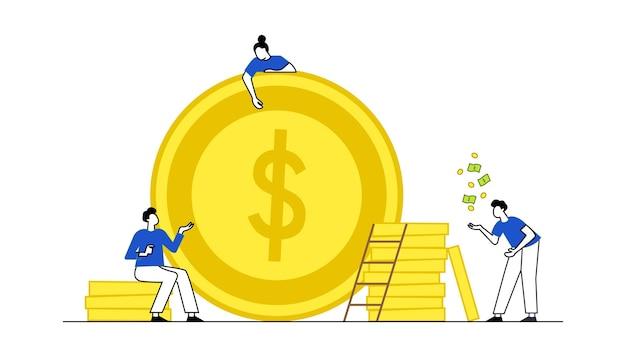 Concetto di illustrazione vettoriale di risparmio di denaro con caratteri illustrazione vettoriale moderna in stile piatto