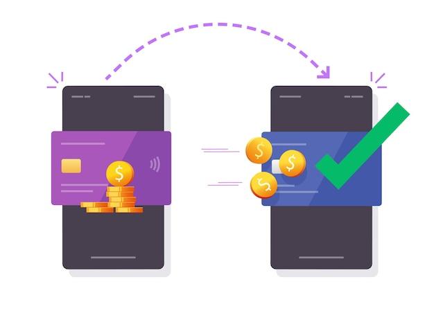 Denaro inviato da carta di credito bancaria a carta o trasferimento di contanti online