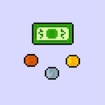 Set di soldi con stile pixel art