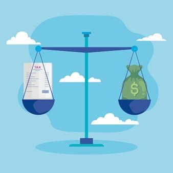 Denaro e saldo fiscale Vettore Premium