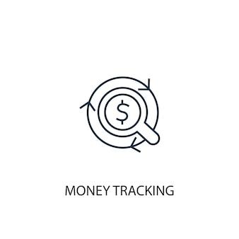 Icona della linea di concetto di monitoraggio dei soldi. illustrazione semplice dell'elemento. disegno di simbolo di contorno del concetto di tracciamento dei soldi. può essere utilizzato per ui/ux mobile e web