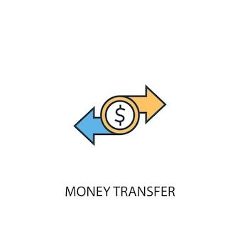 Concetto di trasferimento di denaro 2 icona linea colorata. illustrazione semplice dell'elemento giallo e blu. disegno di simbolo di contorno del concetto di trasferimento di denaro