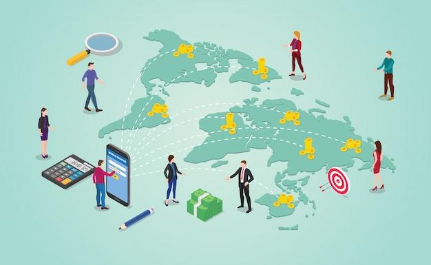 Concetto di trasferimento di denaro con persone che inviano denaro intorno alla destinazione del mondo globale