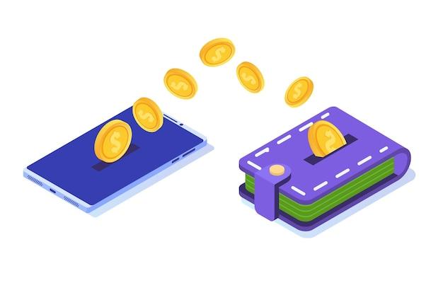Trasferimento di denaro dallo smartphone al portafoglio. illustrazione isometrica.