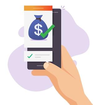 Trasferimento di denaro ricevuto online, transazione in contanti inviata con notifica del segno di spunta sul portafoglio digitale del telefono cellulare