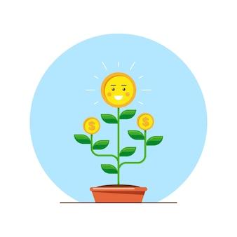 Denaro albero carattere investmen denaro crescita concetto illustrazione