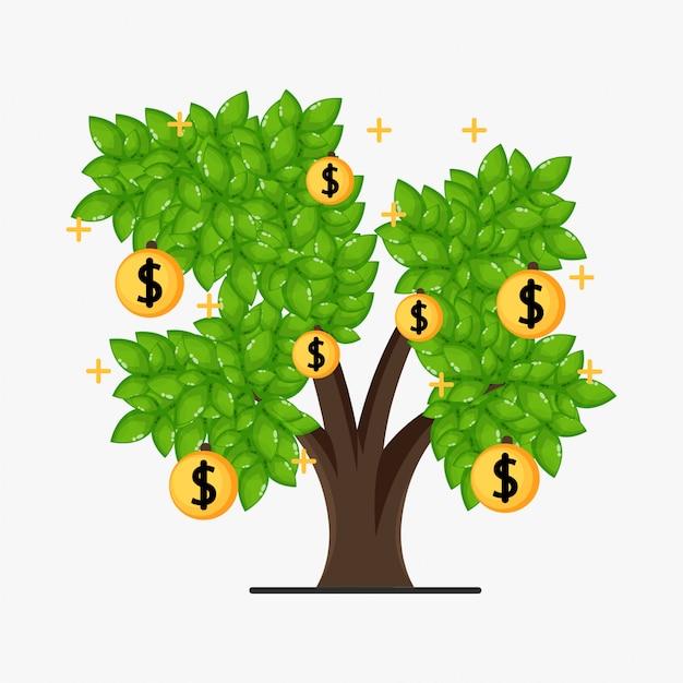 Illustrazione di disegno dell'albero dei soldi