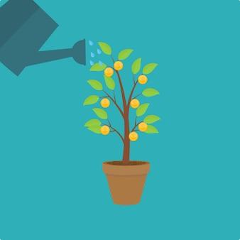 Albero dei soldi, illustrazione piana di vettore di concetto di crescita finanziaria
