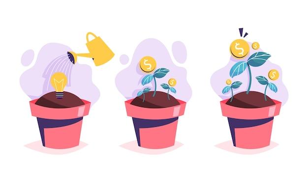 Processo di crescita dell'albero dei soldi. investimento in idea