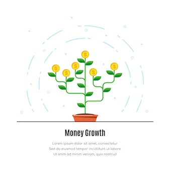 Icona dell'albero dei soldi illustrazione di concetto di crescita dei soldi di investmen