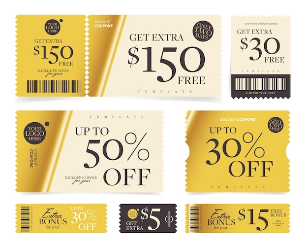 Insieme di modelli di coupon bonus valore o percentuale di sconto in denaro.