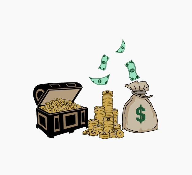 Illustrazione vettoriale di denaro dettagliata e modificabile