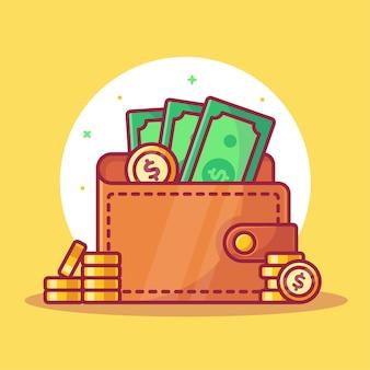 Portafoglio di denaro e monete illustrazione isolato logo finanza icona vettore illustrazione in stile piatto