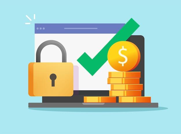 Denaro portafoglio digitale sicuro accesso online protetto con segno di spunta di blocco sul computer portatile