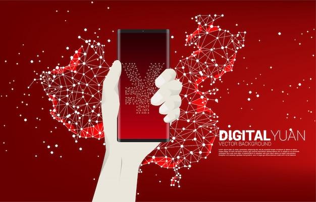 Il simbolo di valuta del yuan dei soldi sul telefono cellulare a disposizione con il punto della mappa della cina collega la linea. concetto di yuan digitale finanziario e bancario.