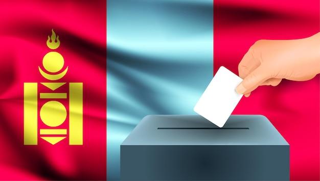 Bandiera della mongolia, voto maschio della mano con il fondo di idea di concetto della bandiera della mongolia