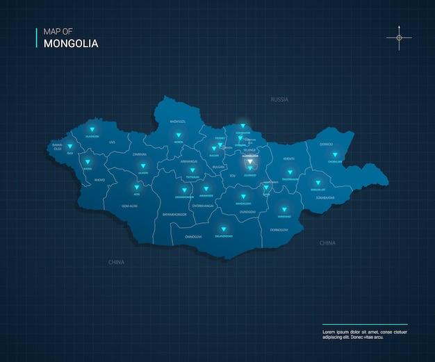 Mappa della mongolia con punti luce al neon blu