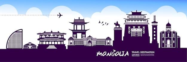 Illustrazione della destinazione di viaggio della mongolia.