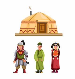 Abiti tradizionali mongoli e set di caratteri da costruzione Vettore Premium