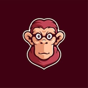 Illustrazione del modello di logo del fumetto della testa di animale della scimmia esport logo gioco premium vector