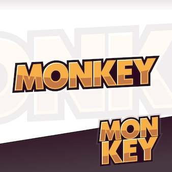 Monkey animals text typo logo