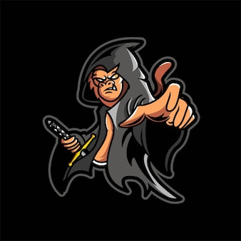 Monkey assassin esport gaming logo