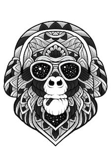 Monkey business zentangle illustrazione vettoriale per i tuoi affari come vuoi
