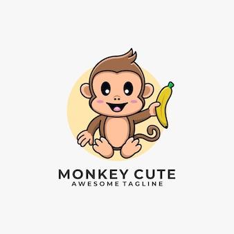 Colore piatto dell'illustrazione di progettazione del logo del fumetto della scimmia