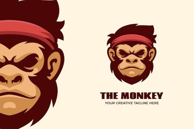 Il modello del logo della mascotte dei cartoni animati della scimmia