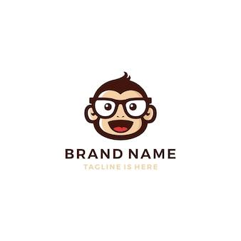 Scimmia chimp bonobo testa viso occhiali geek logo vettore icona modello illustrazione