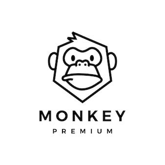 Monkey chimp gorilla monoline icona logo