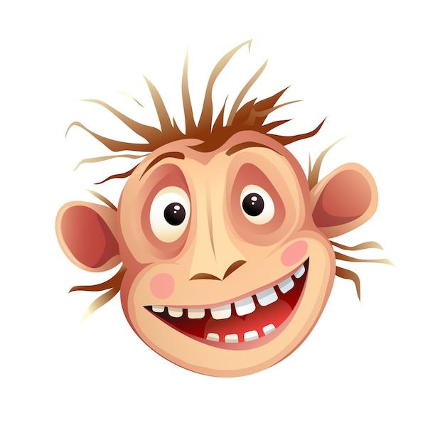 Testa di scimpanzé scimmia, espressione facciale pazza che imita. funky mascotte testa di animale scimpanzé isolato su bianco, cartone animato per bambini.