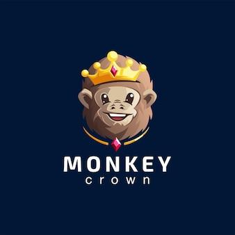 Scimmia corona gradiente logo design