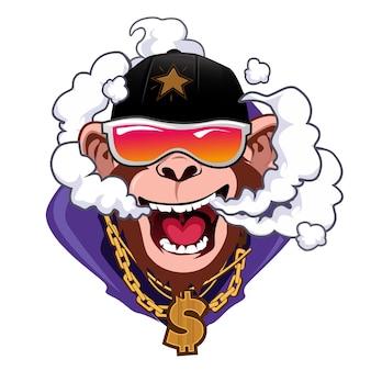Cartone animato di vapore funky scimmia