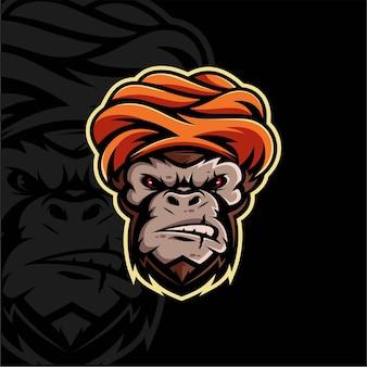 Disegno della mascotte del guru della scimmia
