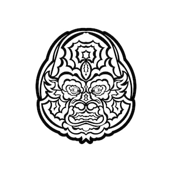 Illustrazione del libro da colorare della testa della scimmia. linee in bianco e nero. stampa per t-shirt e libri da colorare.