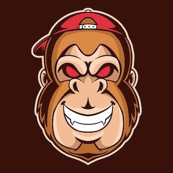 Testa di scimmia con illustrazione del cappello di snapback