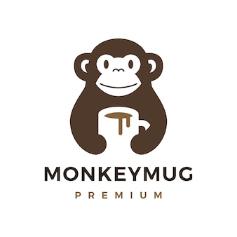 Monkey hold mug coffee drink logo icon illustration