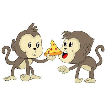 I bambini scimmia stanno condividendo il cibo per la pizza. illustrazione di cartone animato adesivo animale carino