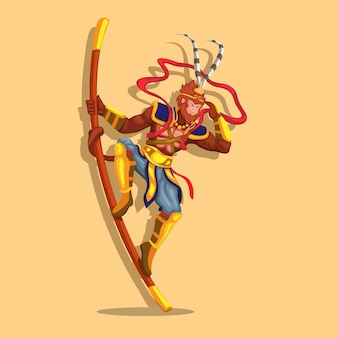 Re scimmia aka sun wukong figura in posa su bastone asta creatura leggendaria mitologia cinese vettore