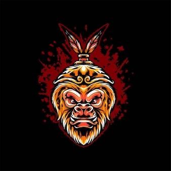 Illustrazione di vettore dell'illustrazione della testa del re della scimmia. adatto per t-shirt, stampe e abbigliamento