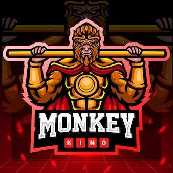 Disegno del logo esport della mascotte del re delle scimmie